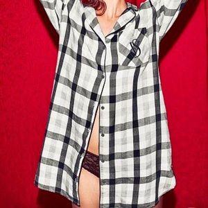 Victoria's Secret Plaid Button Up Sleep Shirt Med